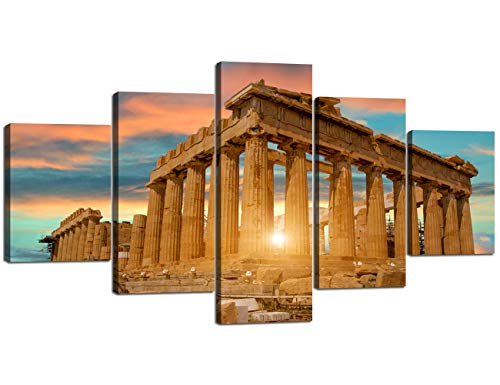 Parthenon Temple on the Acropolis of Athens Greece Artwork 5 Piece Canvas Modern Painting Wall Art Home Decor for Living Room Pictures HD Printed Posters and Prints Framed Ready to hang(60''Wx32''H) -