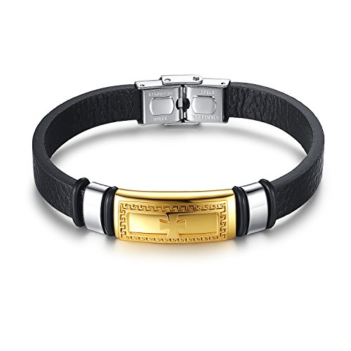 Aoiy Men's Stainless Steel Greek Key Cross and Black Leather Bracelet, ggb019ji