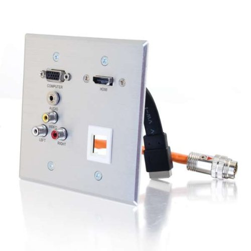 Rapidrun R Double Gang Hd15 + 3.5Mm + Composite Video + Stereo Audio + Hdmi Pass Through Wall Plate-2Pack