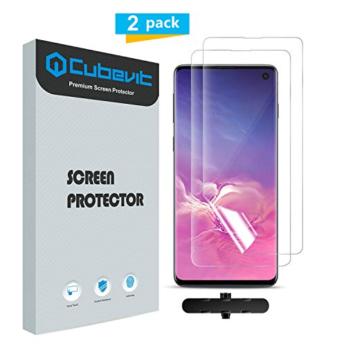 Cubevit Galaxy S10 Screen Protector[Lifetime Replacement Warranty], [2 Pack] Compatible Fingerprint ID Full Coverage [Case Friendly], Bubble Free/Ultra Clear/Screen Protector for Samsung Galaxy S10