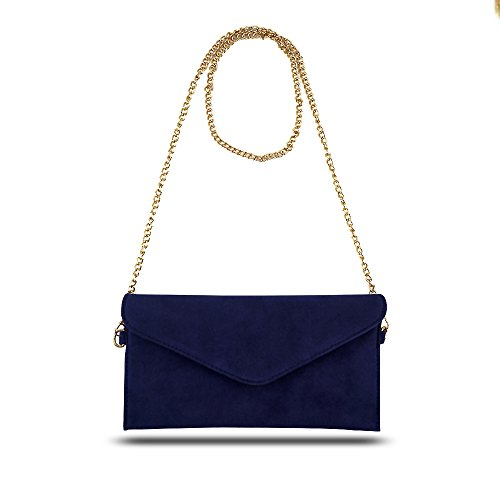 Faux Evening Crossbody Clutch Small Women's Bag Handbag Bag Navy Suede Shoulder Jieway OBw1xqw