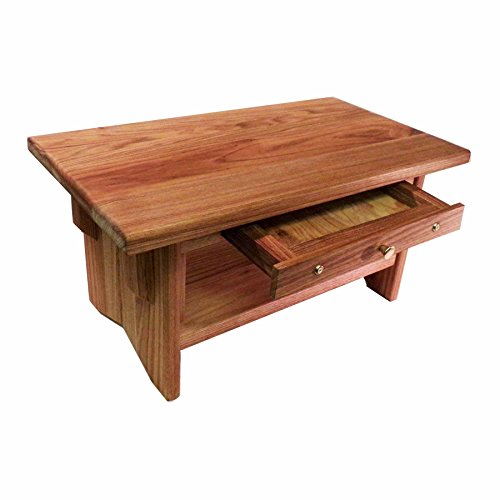 "Deluxe Personal Altar with Shelf & Small Drawer – EarthBench – Solid BUTTERNUT (""White Walnut"") 20″×11″×10″tall"