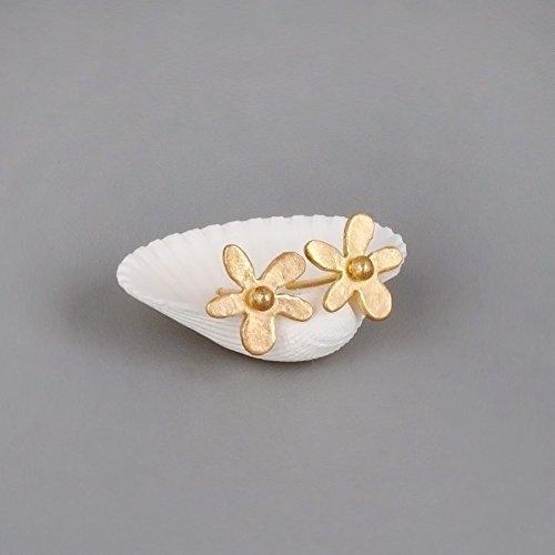 Designer Flowers Stud (Gold Flower Stud Earrings - Designer Handmade Nature Inspired Posts)