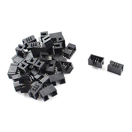 uxcell 30 Pcs 2x3 6Pins 2.54mm Pitch Straight Pin Connector IDC Box Headers