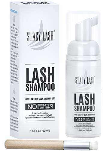 (Eyelash Extension Shampoo Stacy Lash + Brush / 50ml / Eyelid Foaming Cleanser/Wash for Extensions and Natural Lashes/Paraben & Sulfate Free Safe Makeup & Mascara Remover/Professional & Self Use)
