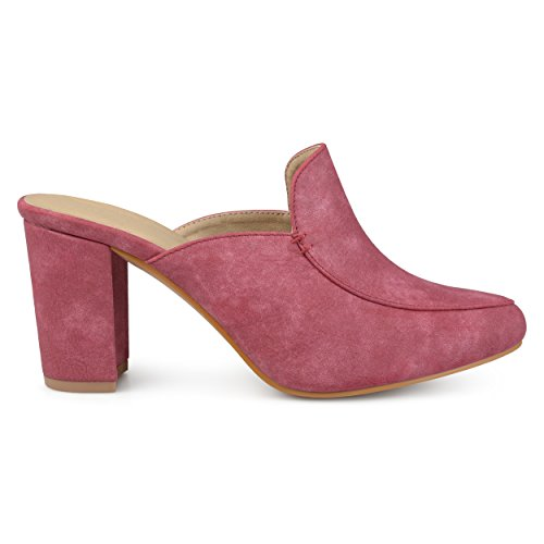 Brinley Co. Womens Thirza Block Heel Distressed Loafer Mules Brick, 6.5 Regular ()