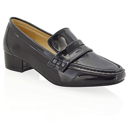 ESSEX GLAM Womens Flat Low Heel Moccasins Ladies Office Synthetic Leather Loafers Shoes 3-8 Black Patent LjqiKHrob