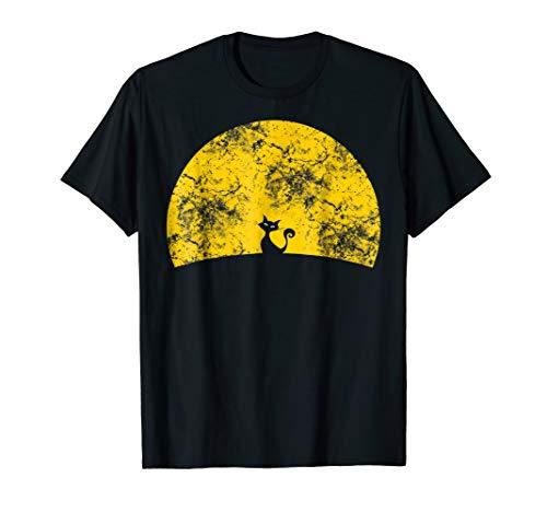 Funny retro TShirt Sunset Cat Halloween Costume Tee Shirt