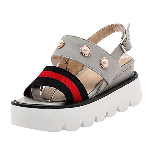 Mee Shoes Damen süß Schnalle open toe plattform Sandalen Grau