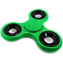 """Spinners by IN Global Plastic Finger Toy Stress Reducer Fidget Spinners, Green, 3.6"""" x 3.5"""""""