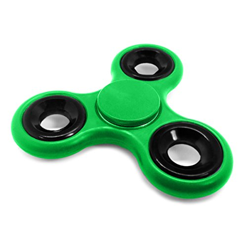 "Spinners by IN Global Plastic Finger Toy Stress Reducer Fidget Spinners, Green, 3.6"" x 3.5"""