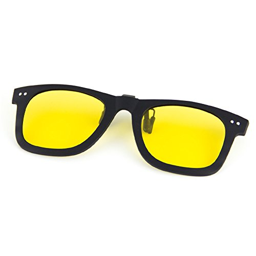 (Cyxus Polarized UV Blocking Sunglasses Clip On Anti Glare Yellow Lens)
