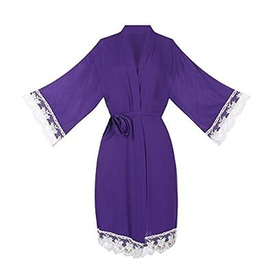ellenwell Women's Cotton Knit Kimono Robe for Bride and Bridesmaid with Lace Trim Nightwear