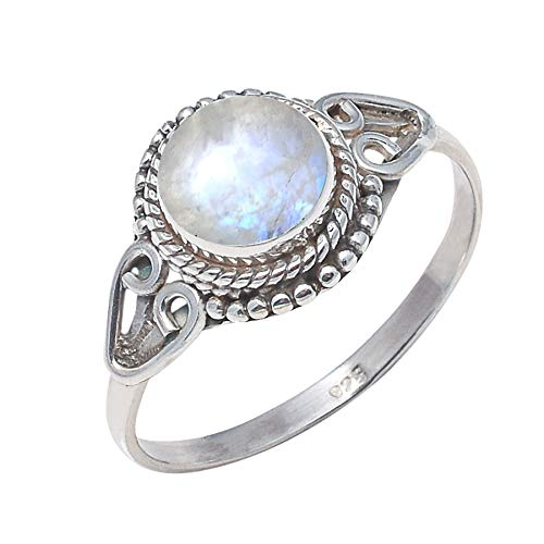 925 Sterling Silver Rainbow Moonstone Ring Size US 6 - Rainbow Stone Gemstone Statement Ring Gift Jewellery For Girl Women