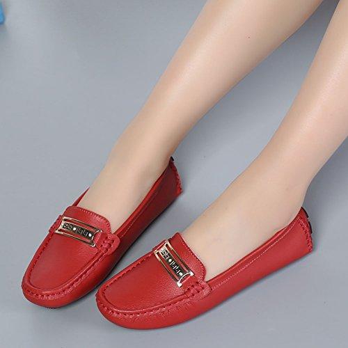 Damen Casual Slipper Mokassin Bootsschuhe Leder Loafers Schuhe Flache Fahren Halbschuhe Rot
