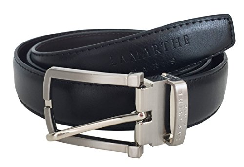 LAMARTHE Paris Unisex Reversible Belt, Genuine Premium Leather Belt, Black / Dark Brown; W: 2.9 cm / 1.1 in; L: 110-125 cm / 42.9 - 48.7 in; Model No.:FJ102 U254-110; (London Business School Halloween Party)