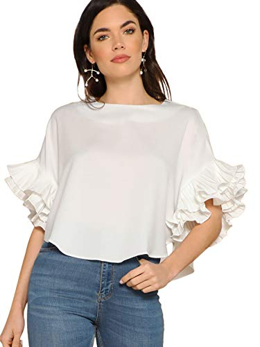 Top Sleeve Tiered (DIDK Women's Pleated Ruffle Sleeve High Low Hem Top White L)