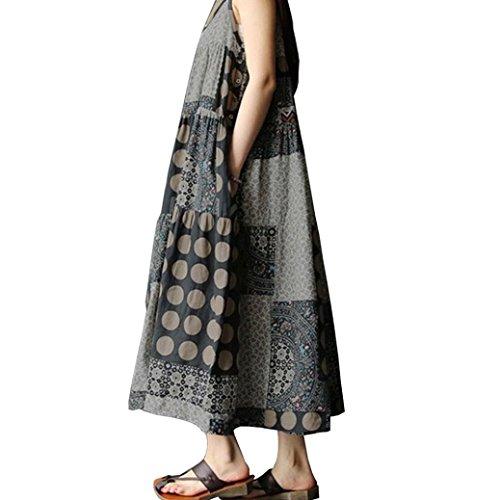 Gyoume Plus Size Dress for Women Sleeveless Linen Strappy Bohe Print Long Dress Mother Day (5XL, -