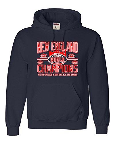 Small Navy Blue Adult New England World Champions Football Sweatshirt Hoodie