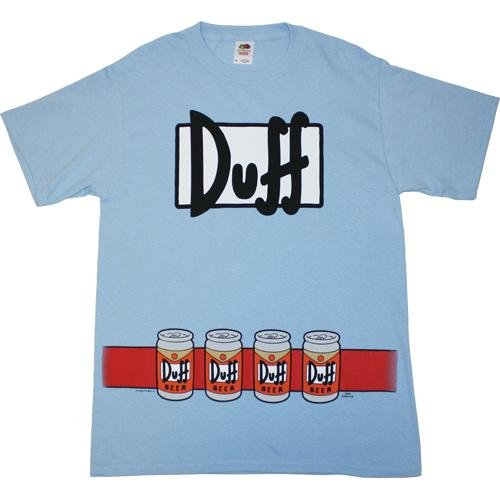 The Simpsons Duffman Costume Beer Belt Print Sky Blue Adult T-shirt Tee -