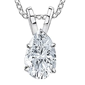 "0.61 Carat Pear Diamond Solitaire Pendant Necklace H Color VVS2 Clarity, w/ 16"" Silver Chain"