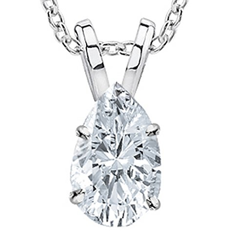 0.57 Carat 14K White Gold Pear Diamond Solitaire Pendant Necklace F Color SI1 Clarity, w/ 16