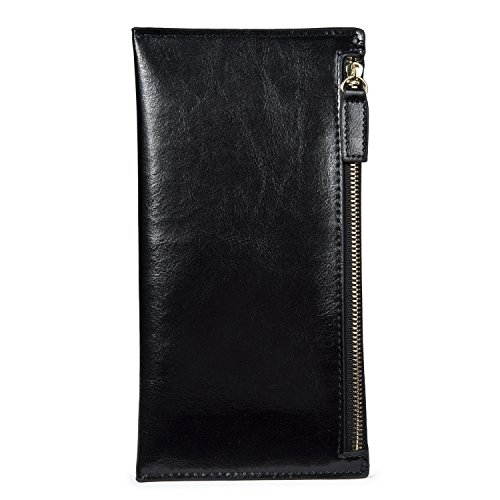 Leather Long Wallet Zipper Clutch Coin Purse Slim Card Case Holder for Women with 8 Card Slots Black (Zipper Slim)