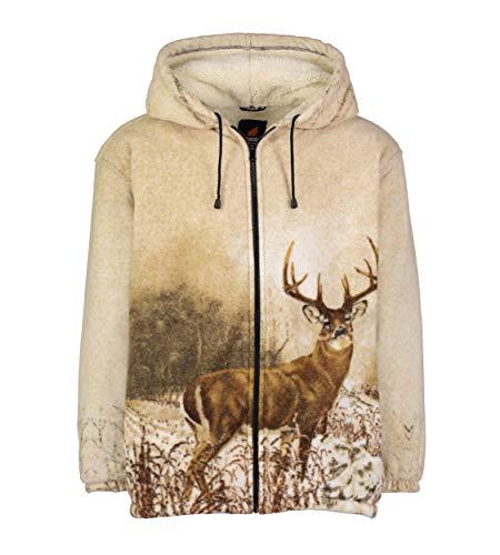 Wildkind Full-Zip Plush Sherpa Animal Hoodie, Whitetail Deer, Large
