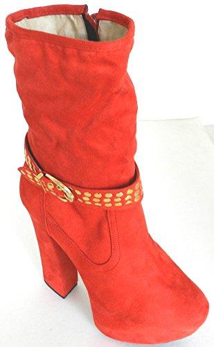 Womens Multi Colore Metà Ginocchio Alta Tacco Alto Zeppa Moda Strass Scarponi Invernali Rosso