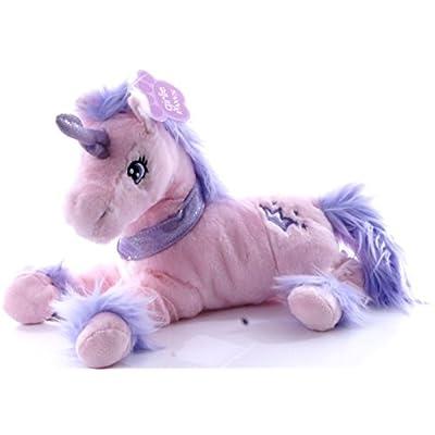 33cm Fluffy Rose Peluche Unicorn Avec Fluffy Mane & Étincelle Collar - jouets pour filles