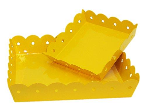 Lemon Yellow Square Enamel Scalloped Trays - Set Of 2