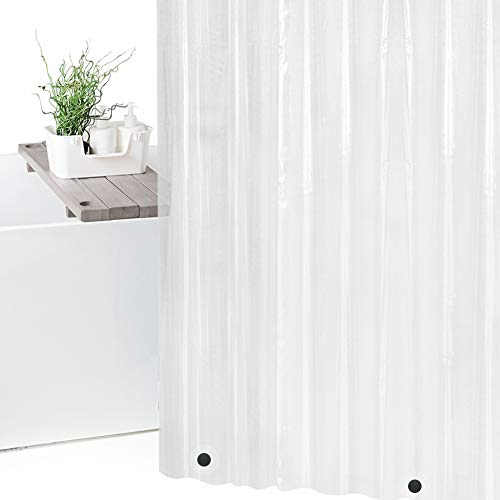 Wimaha Clear Shower Curtain Liner 72x72, Waterproof Shower Liner Mildew Resistant with 3 Magnets for Bathroom, 12 Metal Grommets and Hooks, Clear