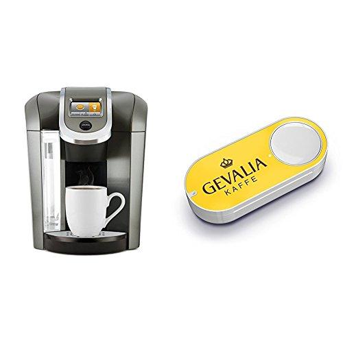 Keurig K575 Single Serve Programmable K-Cup Coffee Maker, Platinum & Gevalia Dash Button by