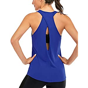 ICTIVE Womens Cross Backless Workout Tops for Women Racerback Tank Tops Open Back Running Tank Tops Muscle Tank Yoga…