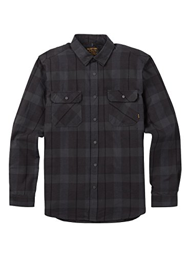- Burton Men's Brighton Performance Flannel Button Down Shirt, True Black Boxelder, Medium