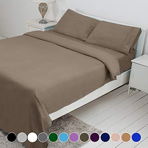 Bonzy Home Bed Sheet Set, Brushed Microfiber 1800 Bedding, Deep Pocket, Hypoallergenic, Wrinkle Resistant Bedding Set, 4 Piece Twin XL Tan (Set Bedding Tan)