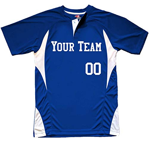 Henley 2-Button Basic Custom Baseball Jersey Adult 3X-Large in Royal Blue & White