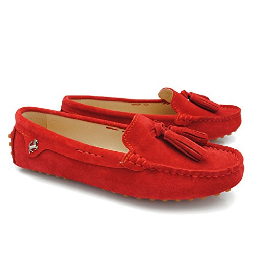 Meijili Casual Flats Red Loafer Driving Shoes Work Shoes Tassel Women's Peas Leather Suede rFxHCqrEw