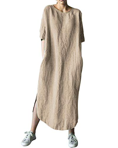 AUDATE Women's Linen Cotton Lantern Loose Dress Spring Summer Fall Plus Size Kaftan Khaki S