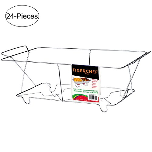 TigerChef TC-20537 Buffet Chafer Food Warmer Chrome Wire Frame Stand, Full Size (Pack of 24)