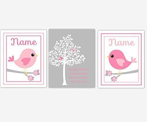 Elephant Twin Nursery Wall Art Nursery Room Decor For Twins: Amazon.com: Twins Baby Girl Nursery Wall Art Pink Gray