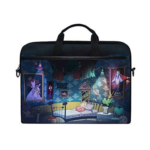 IMOBABY Alice in Wonderland Laptop Bag Canvas Messenger Shoulder Bag Briefcase Fits 15-15.4 inch