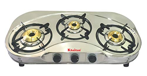 "Khaitan 3 Burner Draw""C"" (with Extra Big Party Cooking Burner) Stainless Steel Price & Reviews"