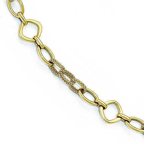 Or poli 14carats-Bracelet Texturé-20cm