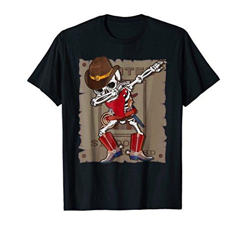 Dabbing Skeleton T-shirt Halloween Costume Kids Cowboy
