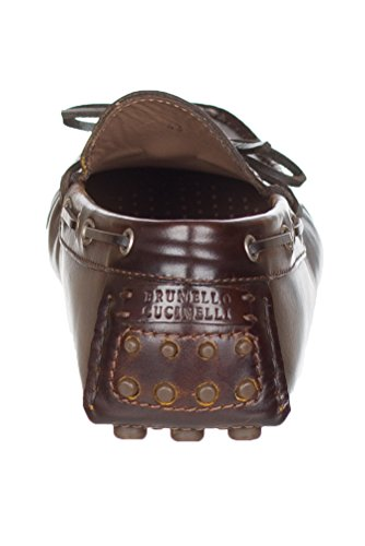 Brunello Cucinelli Mens Brunt Läder Gommini Pebble Körsko Skor Brun