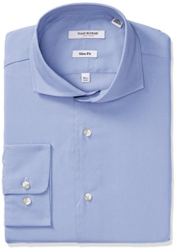 Mens Cutaway Collar Shirt - Isaac Mizrahi Men's Slim Fit Solid Broadcloth Cut Away Collar Dress Shirt, Ice Blue, 16