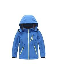 Zhhlinyuan Kids Softshell Waterproof Snow Jacket Coat Windbreaker Fleece Outwear