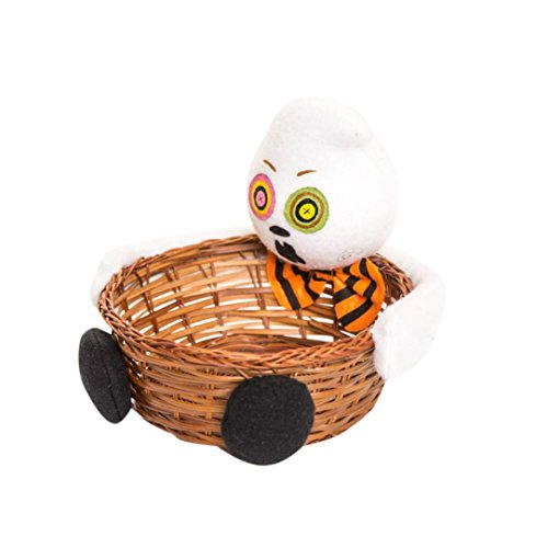 VIASA Halloween Cute Candy Basket Party Storage Basket For Kids Gift (White) -