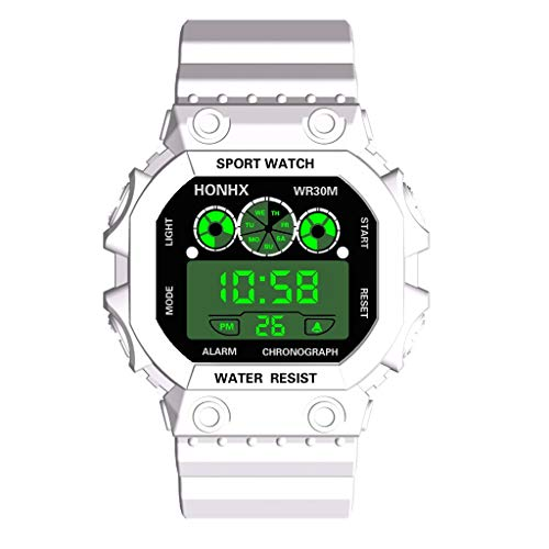 WUAI Men's LED Digital Watch,Fashion Military Sports Electronic Watches Large Dial